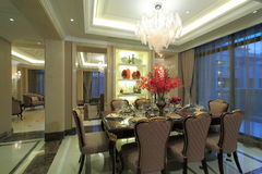 Large bay dining and living room Stock Images