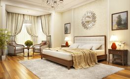 Large and beautiful bedroom in a classic style. Large bedroom in a classic style stock illustration