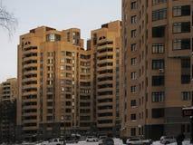 Large beautiful brick multi-storey house. In the winter Stock Photo