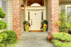 Large beautiful Classic ninties home exterior with brick couns a Royalty Free Stock Photography