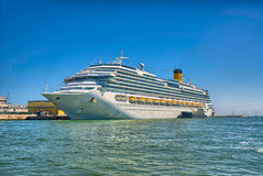 Large beautiful cruise ship at sea and nice clear sky on backgro Royalty Free Stock Photo