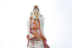 The large beautiful Goddess of Mercy (guan yin) on white backgro Stock Photos
