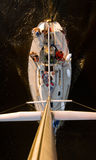 The large, beautiful yacht. Photo taken from the top of the boat pillar, 15 meters high Stock Photos