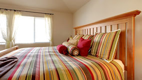 Large bed with beautiful bedding Stock Image