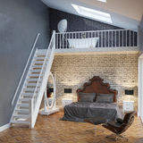 Large Bedroom Interior With Stairs And Vintage Furniture.  Stock Photo