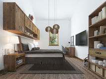 Large bedroom in modern style with elements of a rustic loft. Stock Image