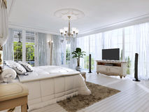 Large bedroom with panoramic Windows and beautiful views. 3D render Royalty Free Stock Image