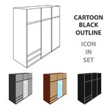 A large bedroom wardrobe with mirrow and lots of drawers and cells.Bedroom furniture single icon in cartoon style vector Stock Photography