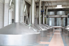 Large beer basins in Ochakovo factory Royalty Free Stock Image