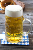 A large beer mug with beer Royalty Free Stock Photography