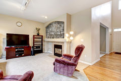 Elegant large living room interior with fireplace, TV and pink chair. royalty free stock photo