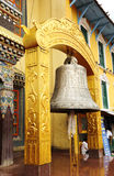 A large bell in front Swayambhunath Stupa. The bell is the common and essential musical instrument in the tantric Buddhism rituals Stock Photo
