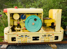 A large belt-driven compressor used during the goldrush at yellowknife Royalty Free Stock Photography
