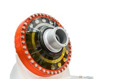Large or big bearing housing for heavy industrial work isolated on white background with clipping path.  stock photo