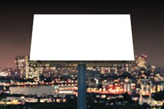 Large billboard against sky at night. 3D rendered illustration Royalty Free Stock Image