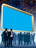 Large billboard and fireworks. People are standing in front of a large blank billboard, fireworks in the background, conceptual business illustration Stock Image