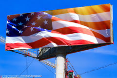 Large billboard with the USA american flag Royalty Free Stock Photos