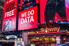 Large Billboards above the Times Square – 42nd Stree Subway station. New York, USA - September 2016:  Large Billboards above the Times Square – 42nd Street Royalty Free Stock Images