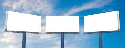 Large billboards against blue sky. 3D rendered illustration Stock Image