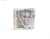 Large bills Ukrainian hryvnia in elastic Stock Image