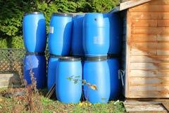 Blue Plastic Compost Bins Royalty Free Stock Photos