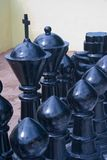 Large Black Chess Pieces. Close look at some large Black Chess Pieces Stock Photo