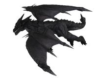 Large Black Dragon in Flight, Side View stock photo