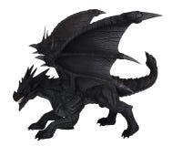 Large Black Dragon - side view. Fantasy illustration of a large black dragon in side view, 3d digitally rendered illustration vector illustration