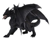Large Black Dragon, Turning Around. Fantasy illustration of a large black dragon in side view, turning around, 3d digitally rendered illustration stock illustration