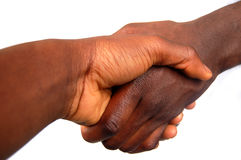 Large Black Handshake. This is an image of two people handshaking diagonally. (Large Stock Photos