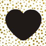 A large black heart on the background of small gold dots. Of different size with copy space The Theme of love and Valentines Day Idea for greeting card Stock Images