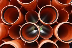 Large Black Plastic Pipes for Water Supply stock photos
