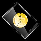 A large black realistic mobile smart touch-sensitive thin tablet computer turned to the side with a broken coin bit cracked isolat. Ed on a black background Stock Illustration