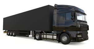 Free Large Black Truck With A Semitrailer. Template For Placing Graphics. 3d Rendering. Royalty Free Stock Image - 105297466