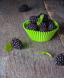 Large blackberries in the form for a cupcake made of paper. Stock Photo