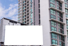 large blank billboard on building in city view background Royalty Free Stock Photo