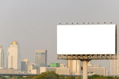 Large blank billboard with city view background Royalty Free Stock Images