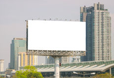 Large blank billboard with city view background Royalty Free Stock Photo