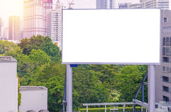 Large blank billboard with city view background.  Royalty Free Stock Photo