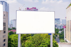 Large blank billboard with city view background Royalty Free Stock Photos