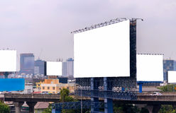 Large blank billboard with city view background.  Royalty Free Stock Photography