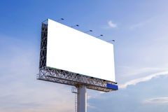 Large blank billboard with city view and background.  Stock Image