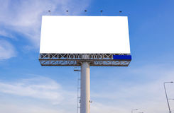Large blank billboard with city view and background.  Royalty Free Stock Images
