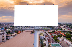 Large blank billboard with city view background.  Stock Images