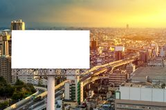 Large Blank billboard ready for new advertisement with sunset.  royalty free stock images