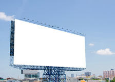 large blank billboard on road with city view background Stock Photo