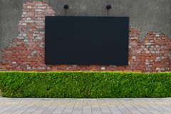 Large blank billboard on a street wall. Banners with room to add your own text stock photography