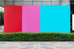 Large blank billboard on a street wall. Banners with room to add your own text royalty free stock images
