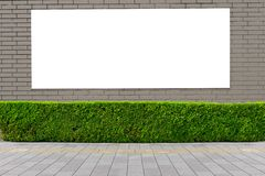 Large blank billboard on a street wall. Banners with room to add your own text stock image