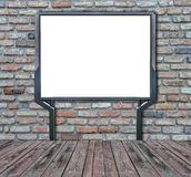 Large blank, empty, white billboard screen  on  brick wall Stock Images